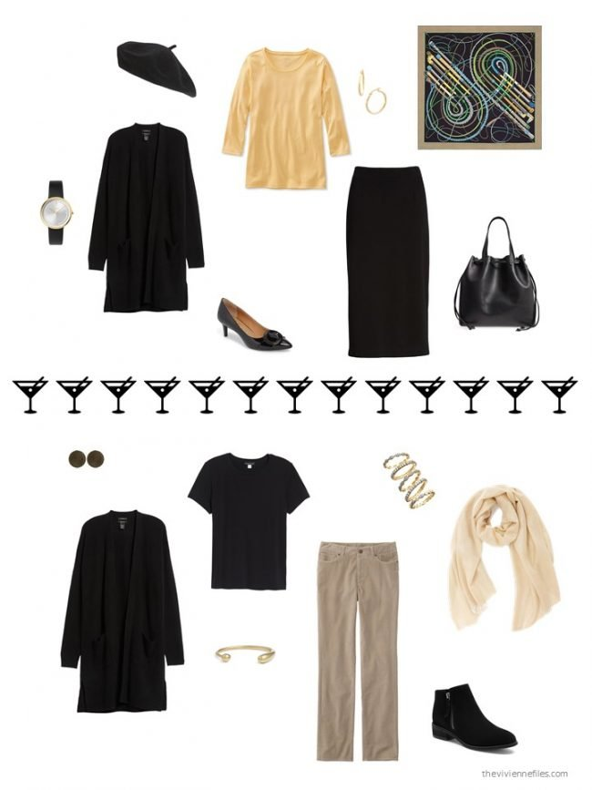 5. 2 ways to wear a black cashmere cardigan from a capsule wardrobe