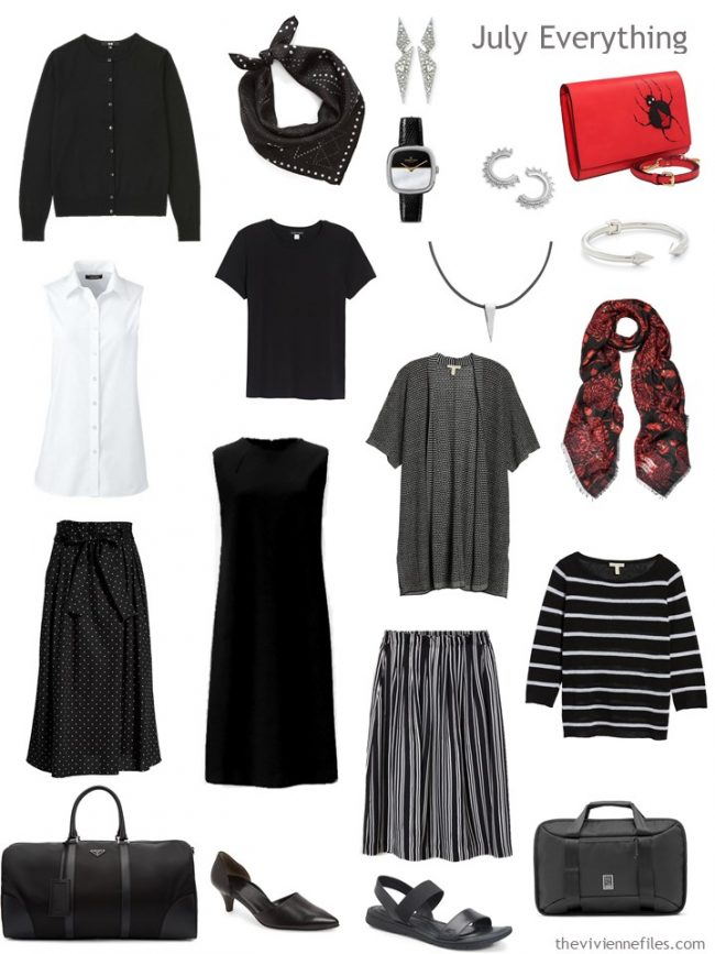 5. Capsule Travel Wardrobe for July in black, white and red