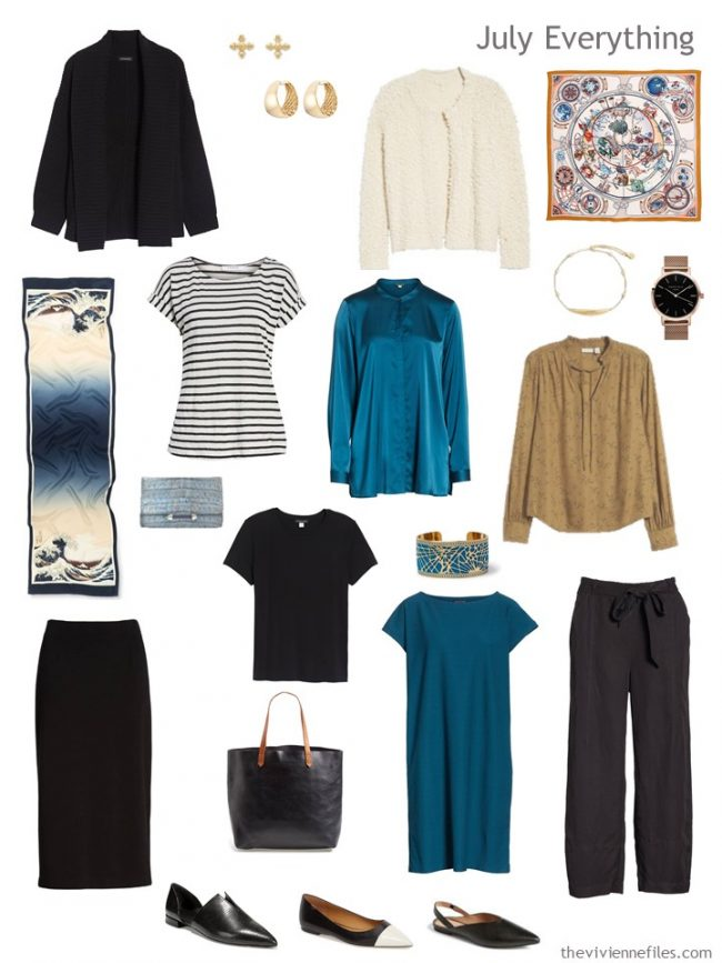 5. July travel capsule wardrobe in black, ivory, teal and camel