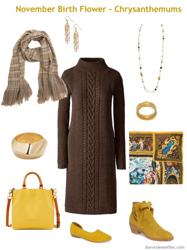 5. brown dress accented with gold