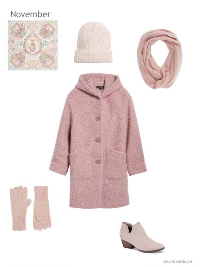 5. pink winter coat with pink accessories
