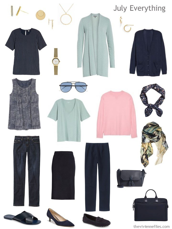 5. travel capsule wardrobe in navy, light green and pink