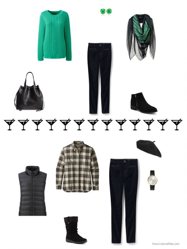 6. 2 ways to wear black velvet jeans from a capsule wardrobe