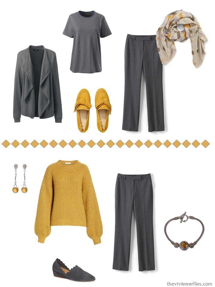 6. Accessorizing charcoal grey pants with Mango Mojito