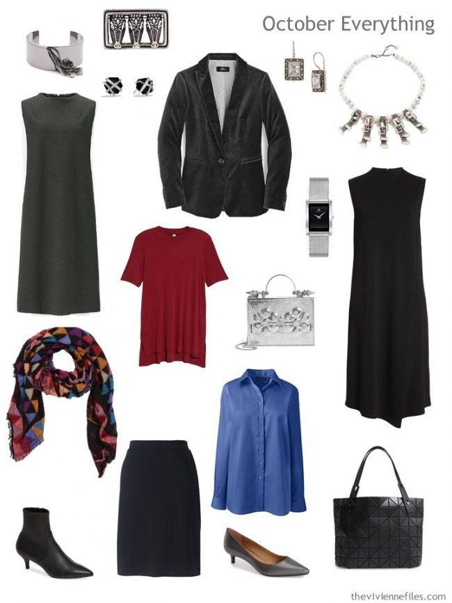6. Capsule Travel Wardrobe for October in black, red and blue