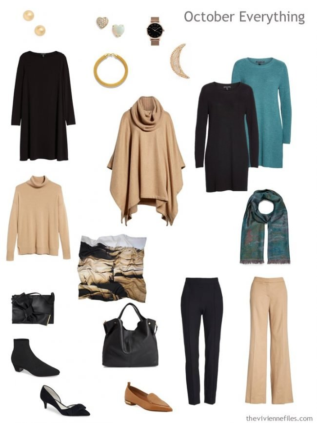 6. October travel capsule wardrobe in black, camel and teal