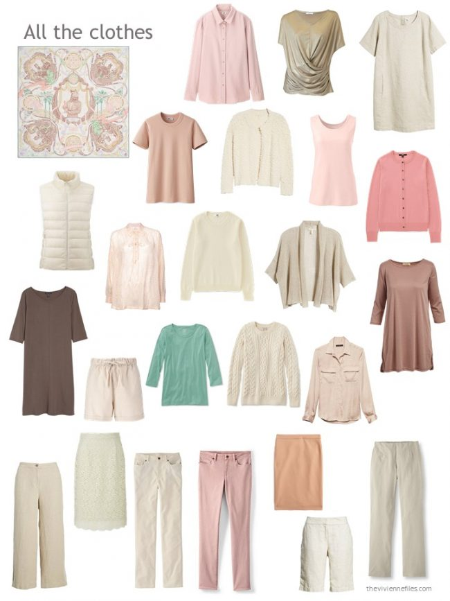 6. beige, pink and green capsule wardrobe