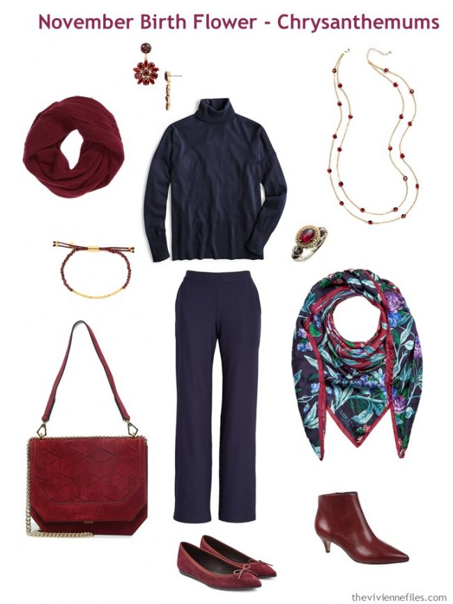 6. navy sweater and pants accented with wine red