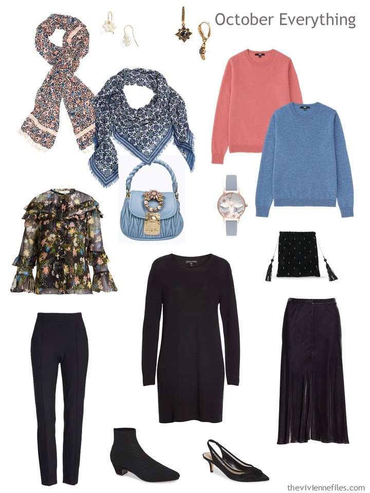 6. travel capsule wardrobe in black, coral and blue