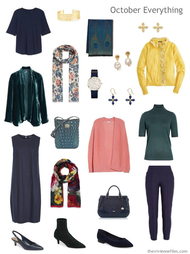 6. travel capsule wardrobe in navy, teal, pink and yellow