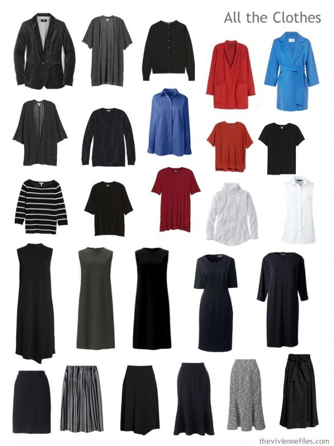 7. Capsule Wardrobe in black, white, red and blue