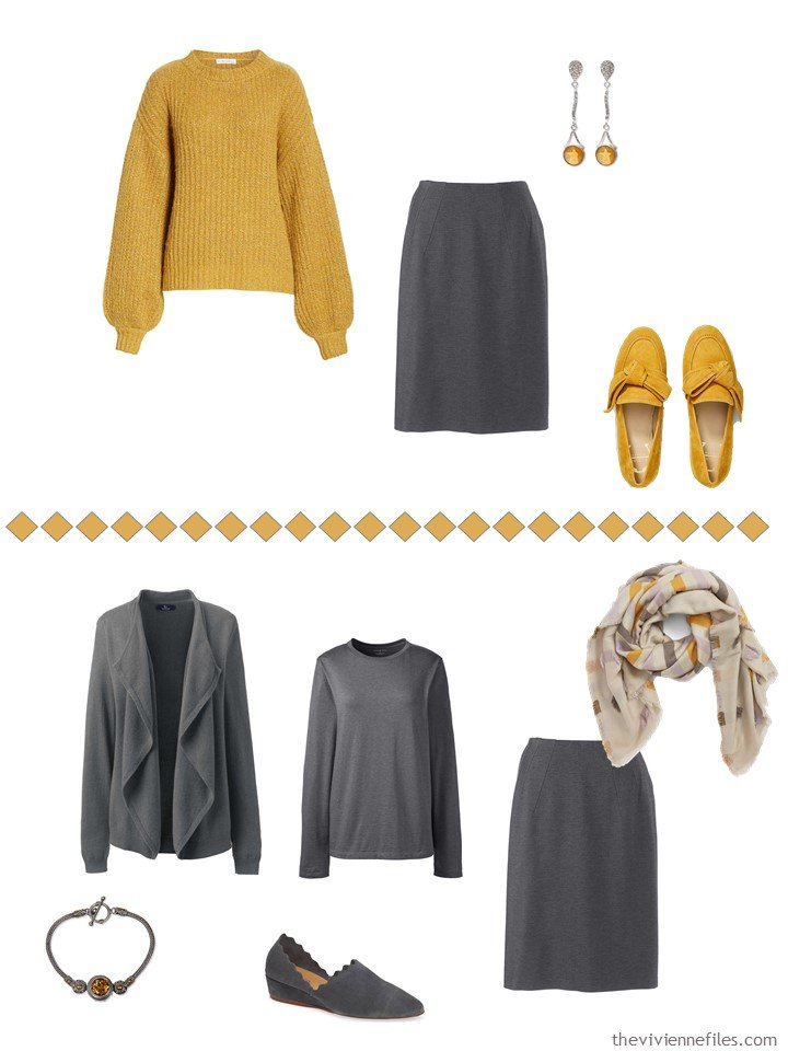 7. accessorizing a charcoal grey skirt with Mango Mojito