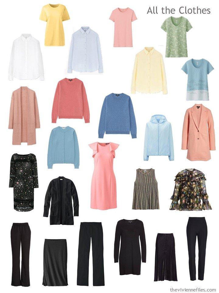 7. capsule wardrobe in black and pastels