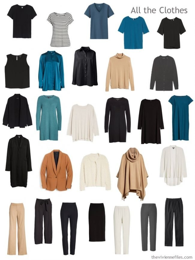 7. capsule wardrobe in black, camel, teal and ivory