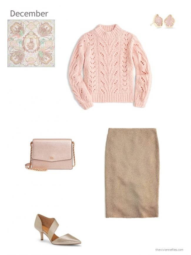 7. winter dressy outfit in pink and gold