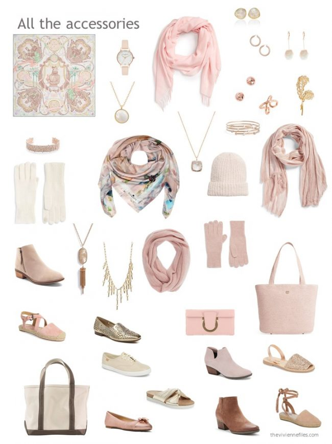 7.accessories for a pink and beige capsule wardrobe