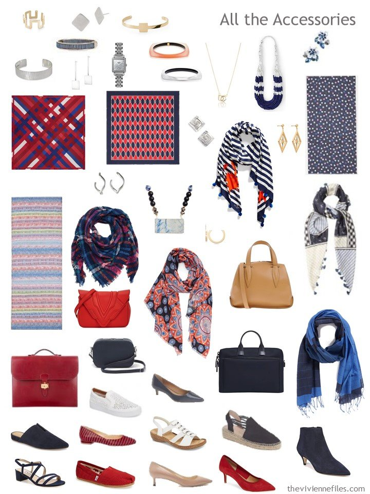 8. Accessories for a navy, red, blue and white wardrobe