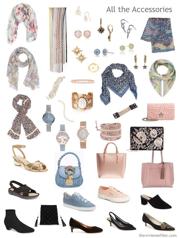8. accessories for a black and pastel capsule wardrobe