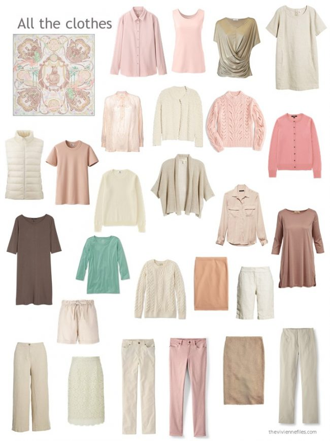 8. capsule wardrobe based on beige and pink