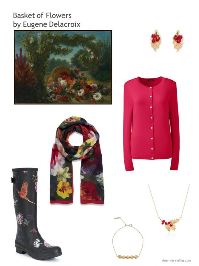8. red cardigan and related floral accessories