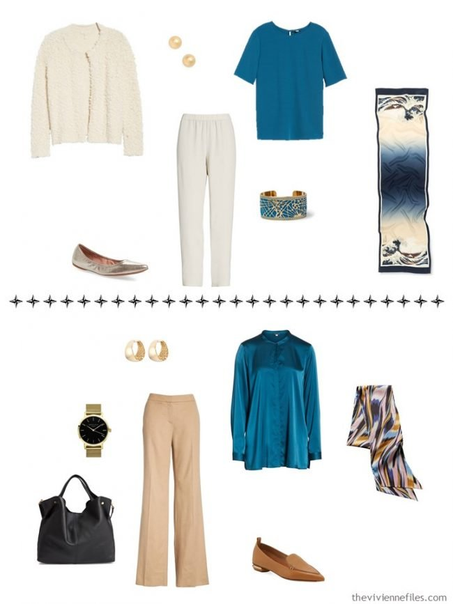 9. 2 additional outfits from a capsule wardrobe in black, camel, ivory and teal