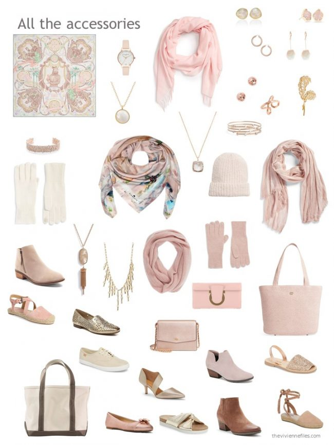 9. accessories for a mostly beige and pink capsule wardrobe
