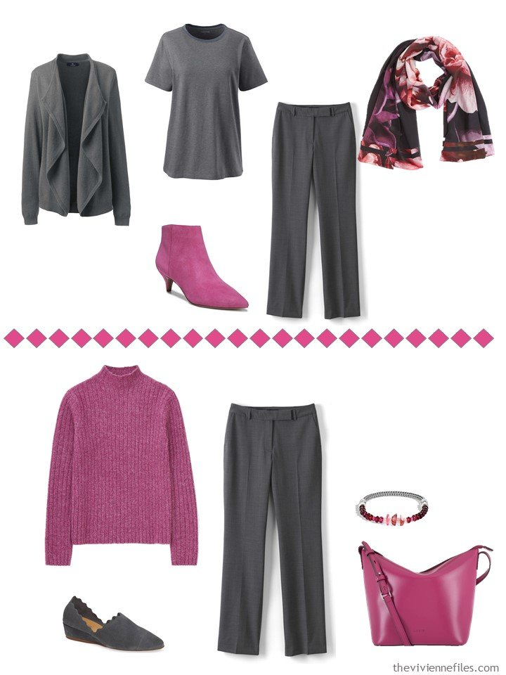 9. accessorizing charcoal grey pants with Pink Peacock