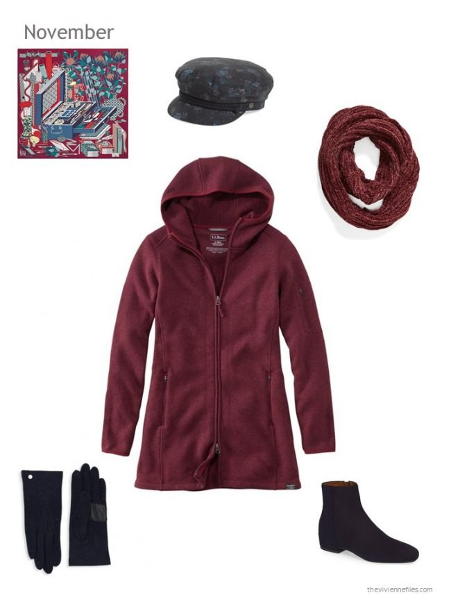 9. burgundy winter jacket with navy and burgundy accessories