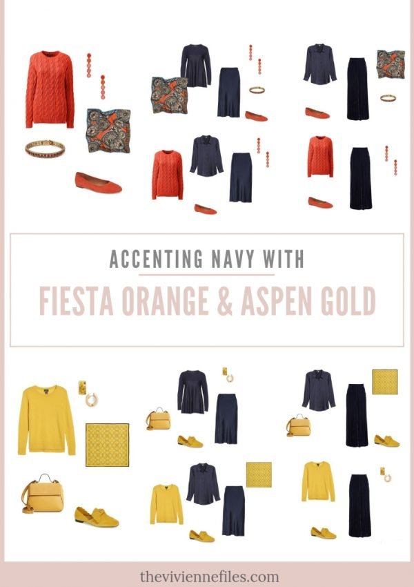 ACCENTING NAVY WITH FIESTA ORANGE OR ASPEN GOLD