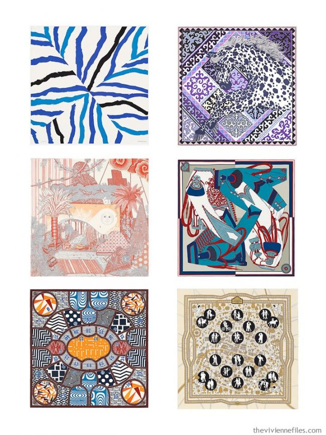 1. Six Hermes scarves