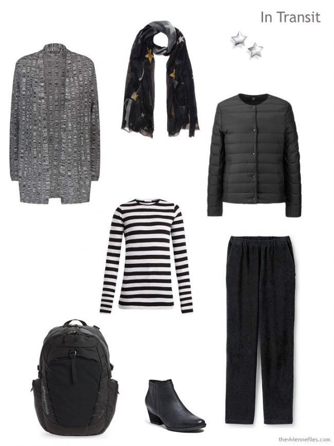 1. travel outfit in black and white