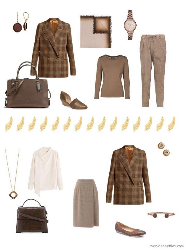 10. 2 ways to wear a brown blazer in a capsule wardrobe