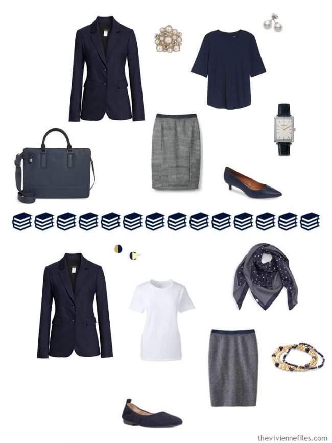 10. 2 ways to wear a navy blazer from a navy and white capsule wardrobe