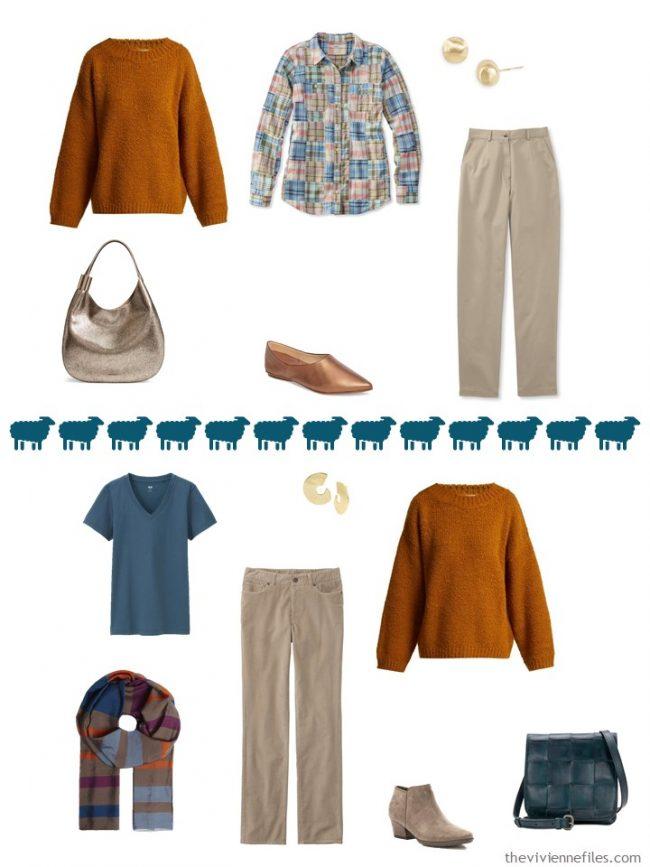 10. 2 ways to wear a rust sweater in a capsule wardrobe
