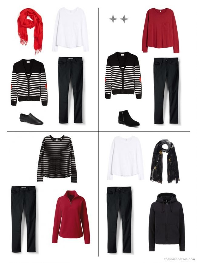 10. 4 outfits from a 10-piece winter capsule wardrobe
