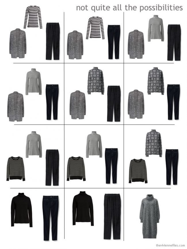 10. a dozen outfits from a 9-piece travel capsule wardrobe