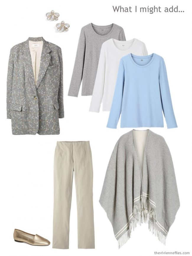 10. wardrobe cluster in grey, beige, blue and white