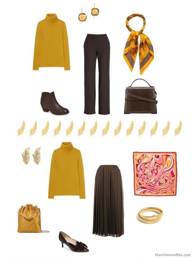 11. 2 ways to wear a gold turtleneck in a capsule wardrobe