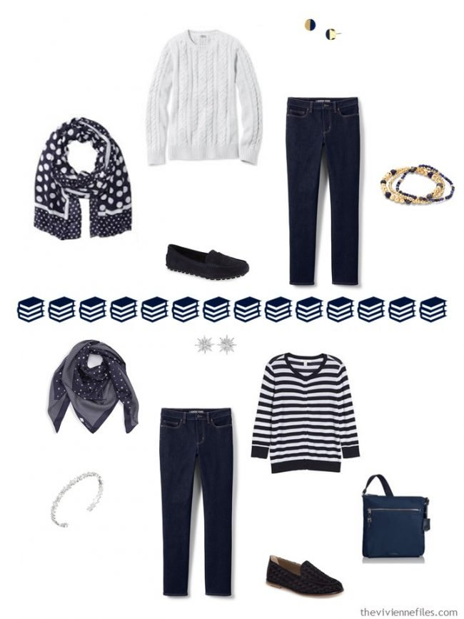 11. 2 ways to wear jeans in a navy and white capsule wardrobe