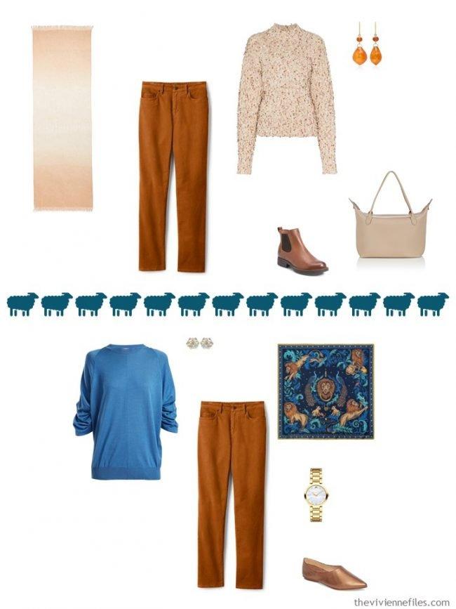 11. 2 ways to wear rust corduroy pants in a capsule wardrobe