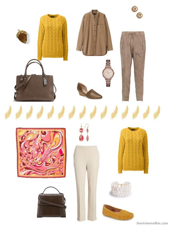12. 2 ways to wear a gold sweater in a capsule wardrobe