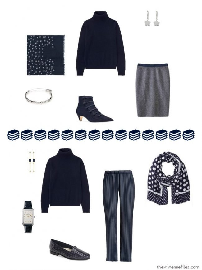 12. 2 ways to wear a navy cashmere turtleneck in a navy and white capsule wardrobe