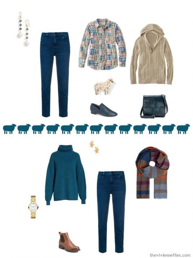 12. 2 ways to wear teal pants in a capsule wardrobe