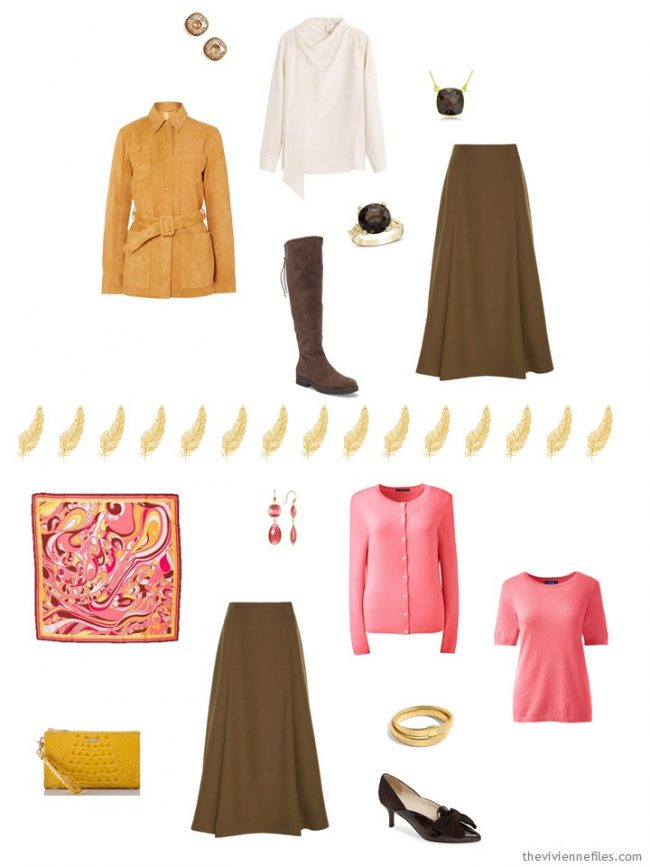 13. 2 ways to wear a brown sweater in a capsule wardrobe