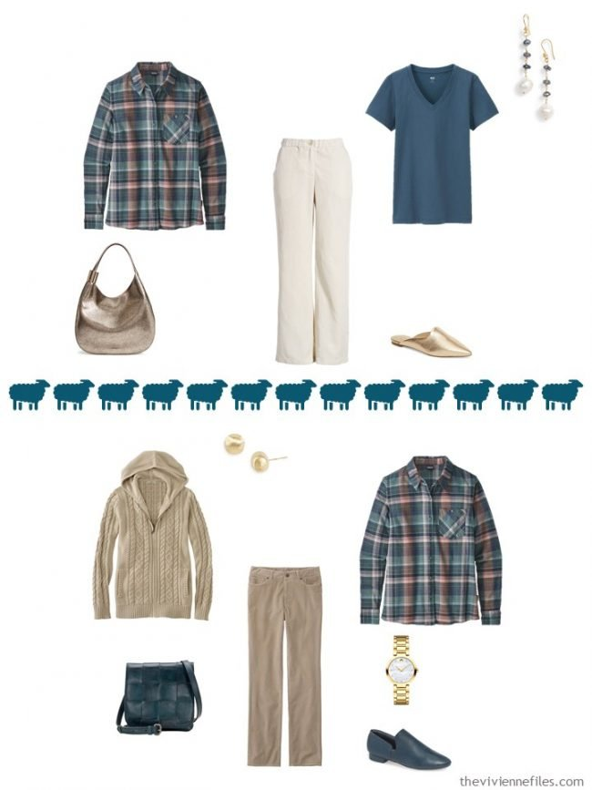 13. 2 ways to wear a plaid flannel shirt in a capsule wardrobe