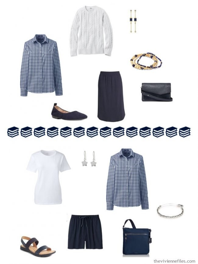 14. 2 ways to wear a gingham shirt in a navy and white capsule wardrobe