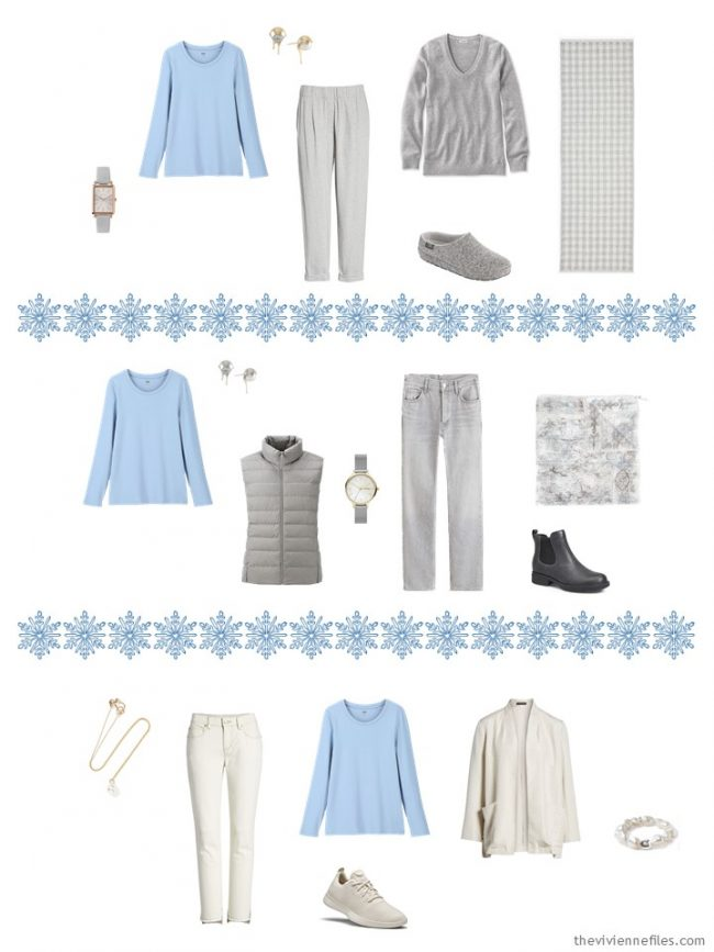 14. adding a blue tee shirt to a capsule wardrobe