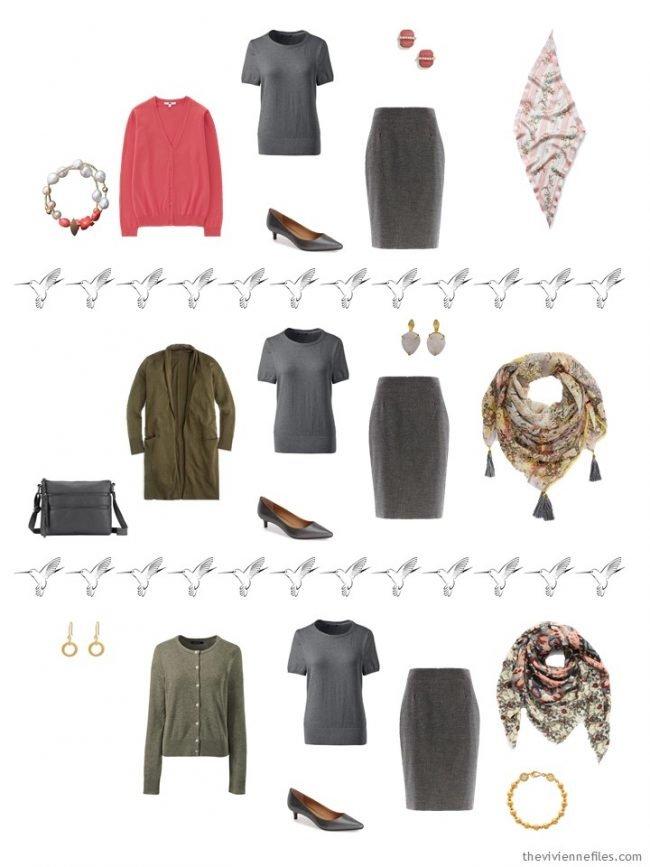 15. 3 ways to wear a grey skirt in a capsule wardrobe