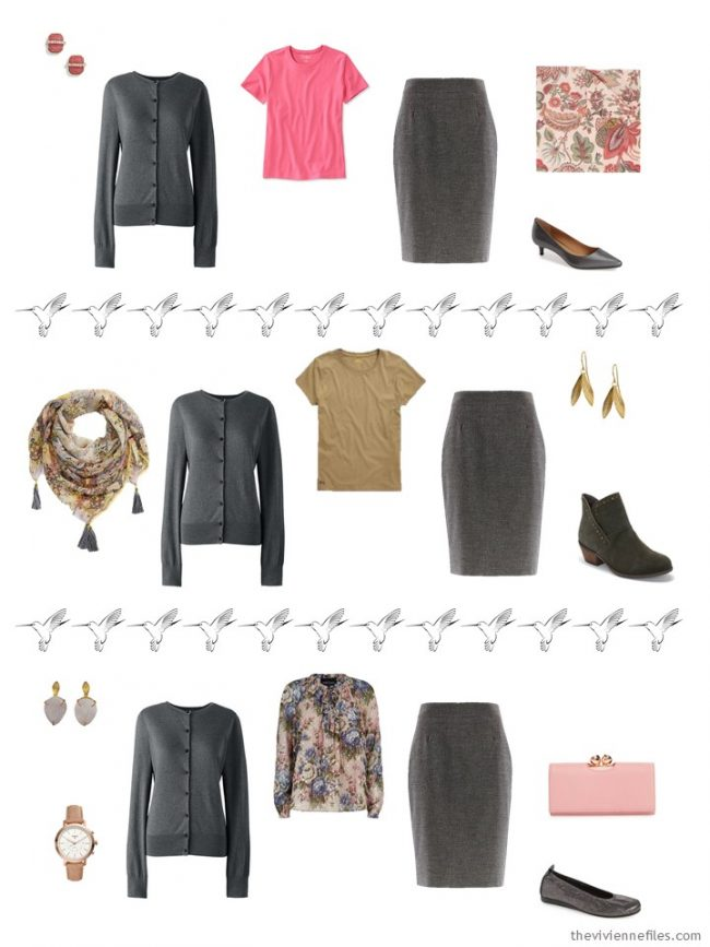 16. 3 ways to wear a grey skirt in a capsule wardrobe