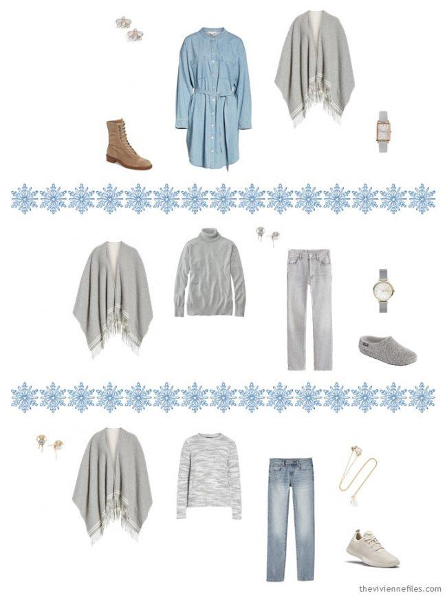 16. adding a grey poncho to a capsule wardrobe